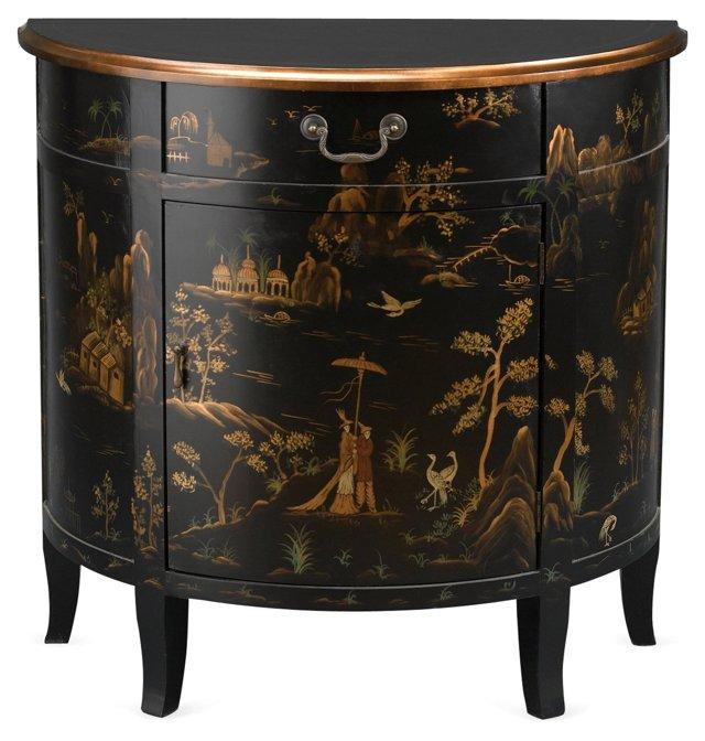 Adagio Cabinet, Black/Gold/Green