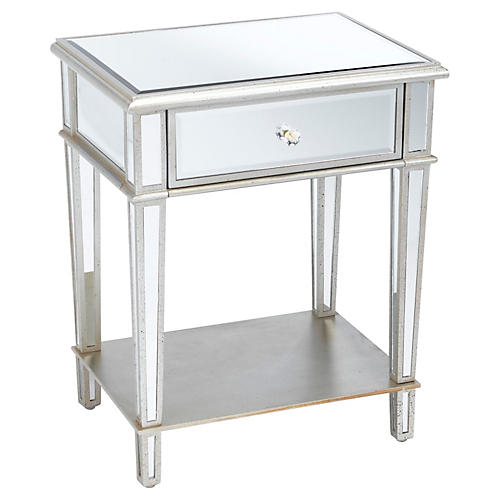 Roosevelt 2-Tier Nightstand, Mirrored
