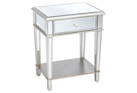 Roosevelt Mirrored Nightstand, Silver