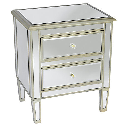 Remy 2-Drawer Nightstand, Mirrored