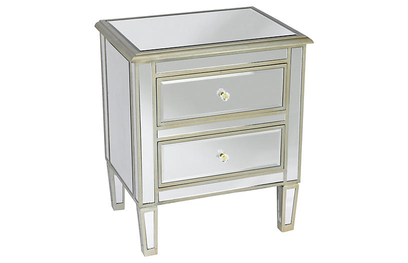 Remy Nightstand, Antiqued Silver
