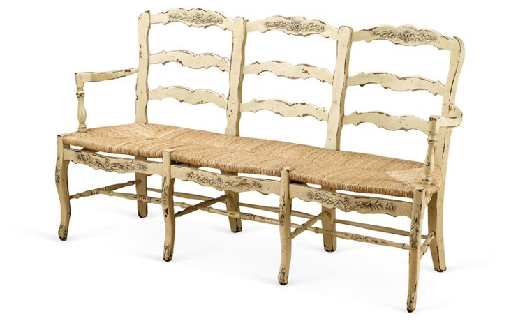 Alexandra 3-Seat Bench, Parchment