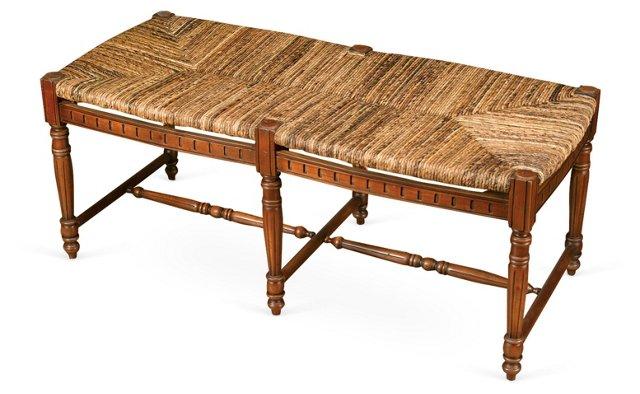 "Betsy 51"" Colonial Bench, Walnut/Jute"
