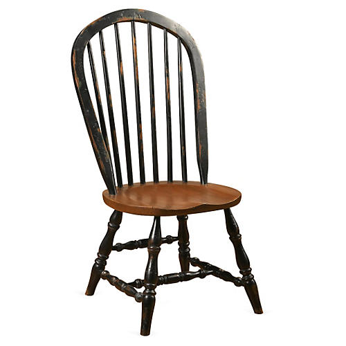 Windsor Side Chair, Black/Walnut
