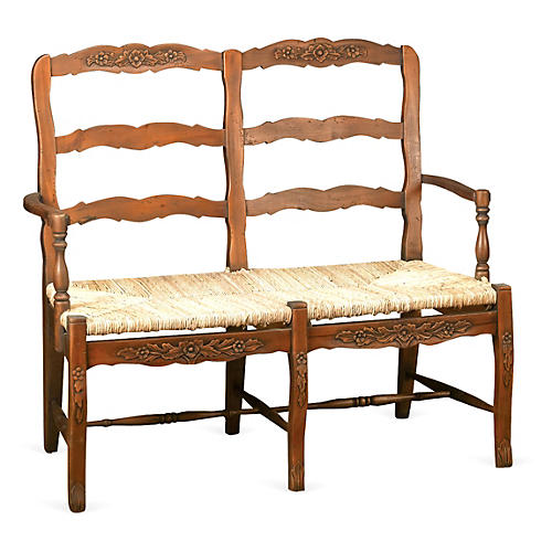 Catherine 2-Seater Bench, Walnut/Jute