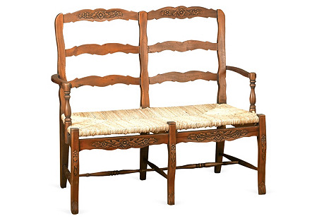 Catherine 2-Seater Bench, Walnut/Jute