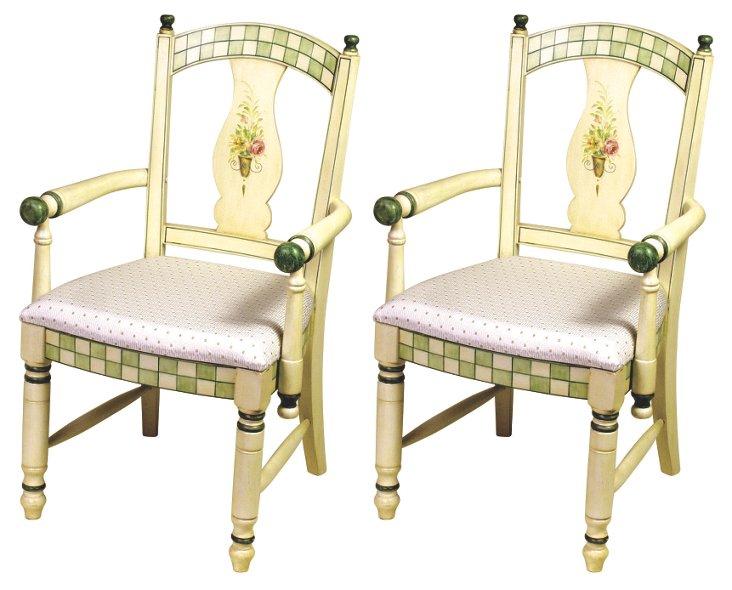 Ivory/Multi Jensen Armchairs, Pair