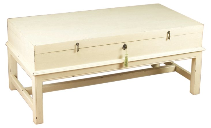 Lisbeth Coffee Table, Distressed White