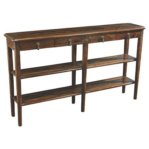 Sarah 3-Shelf Console, Pecan