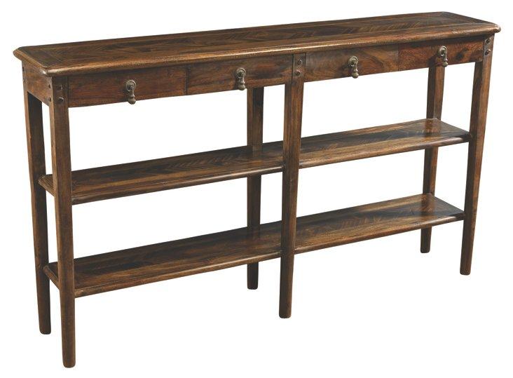 Sarah 2-Shelf Console, Pecan