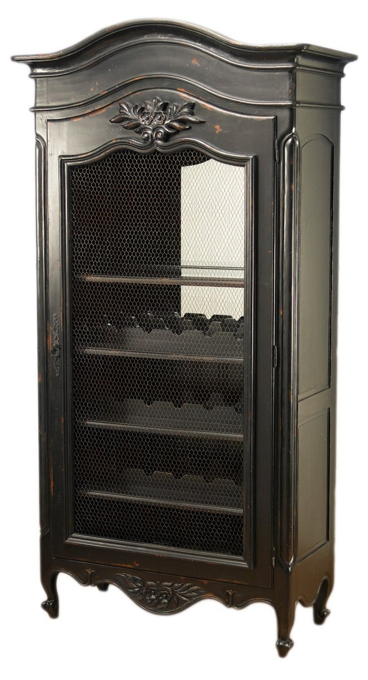 Swift Wine Cabinet, Distressed Black