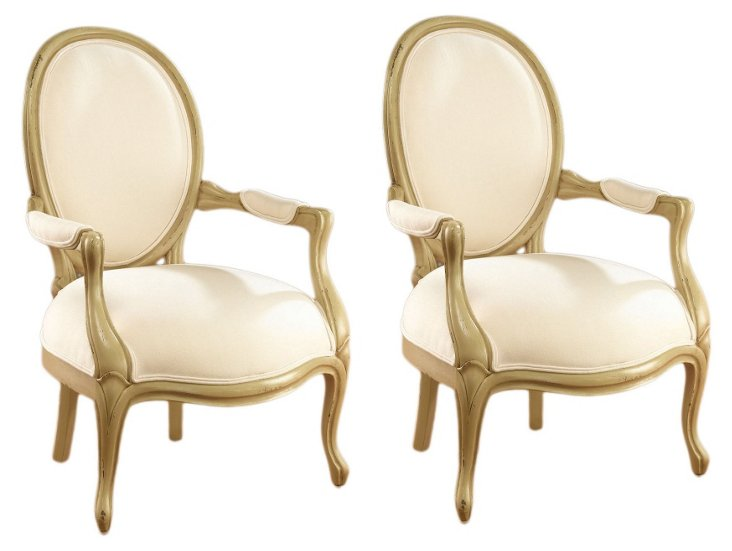 Avery Linen Armchairs, Pair