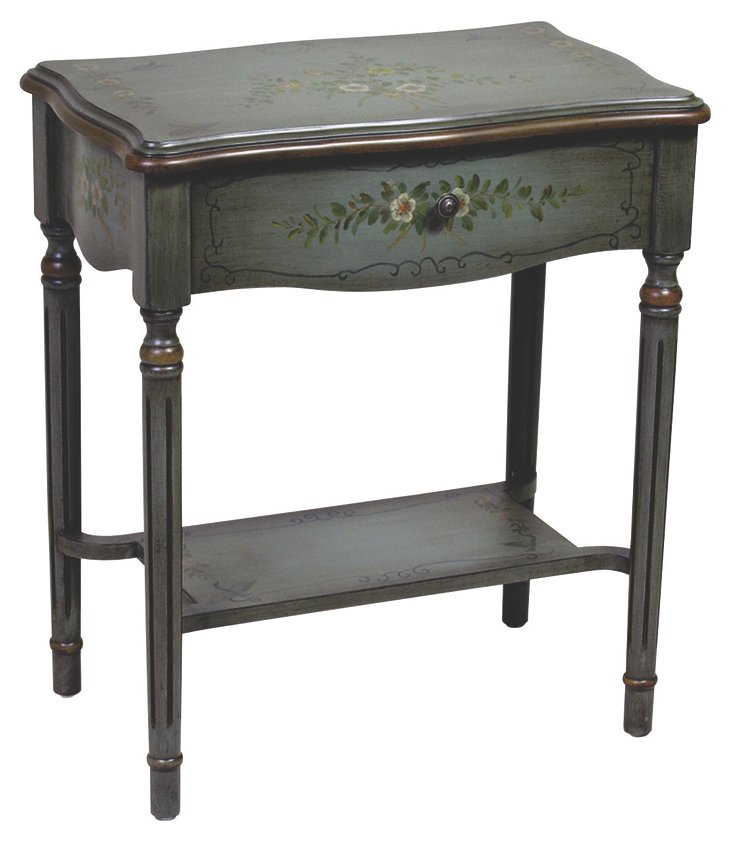 Grace One-Drawer End Table, Blue/Multi