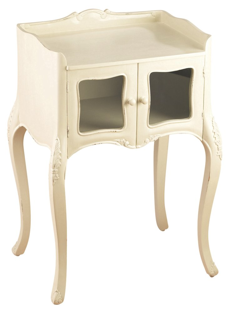 Ina 2-Door End Table, Ivory