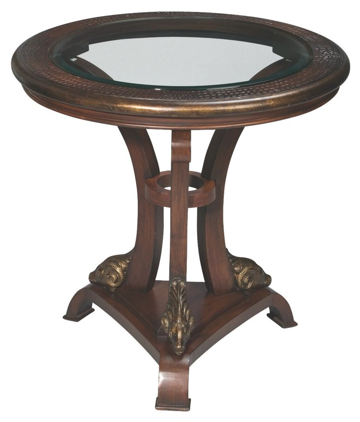 Clason Round Glass-Top Lamp Table, Brown