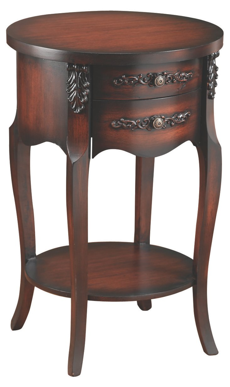 Bella Lamp Table, Dark Cherry/Black
