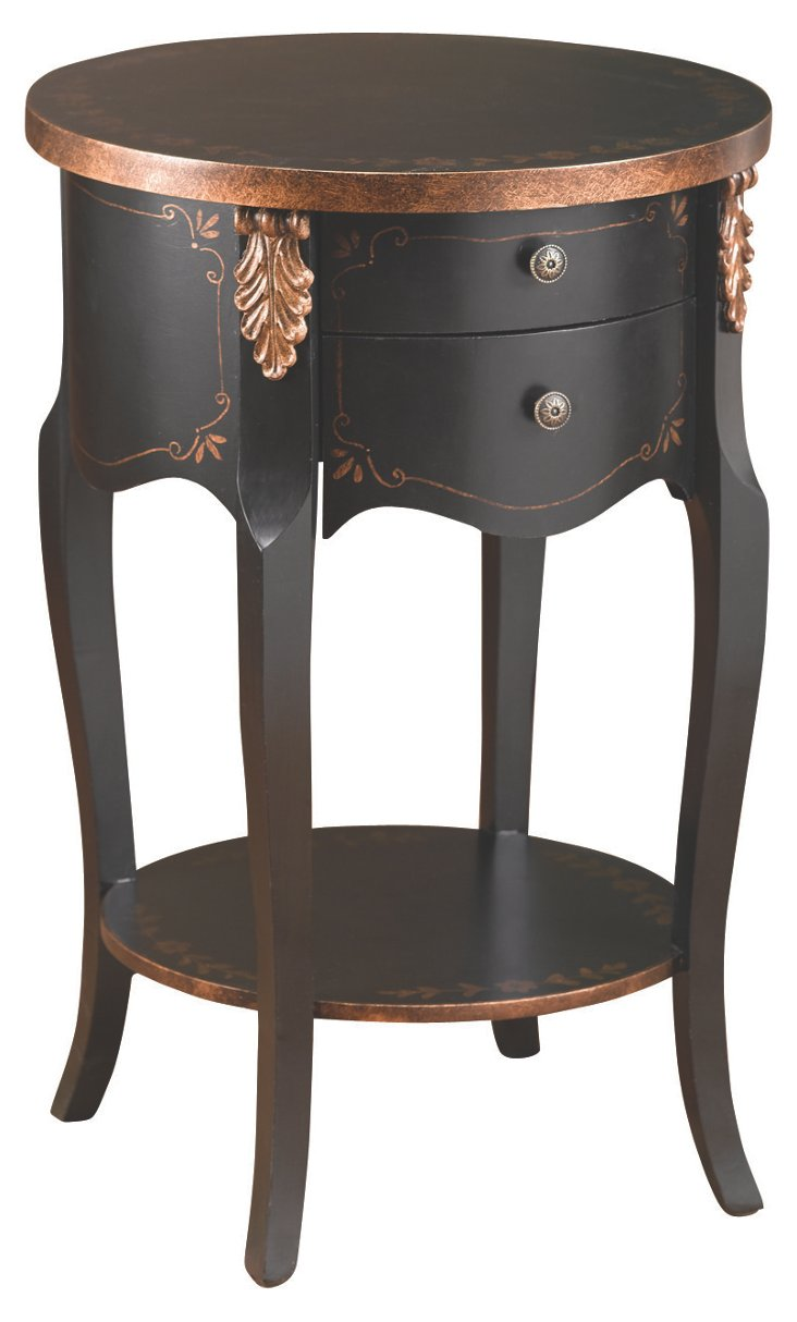 Bella Nightstand, Black/Gold