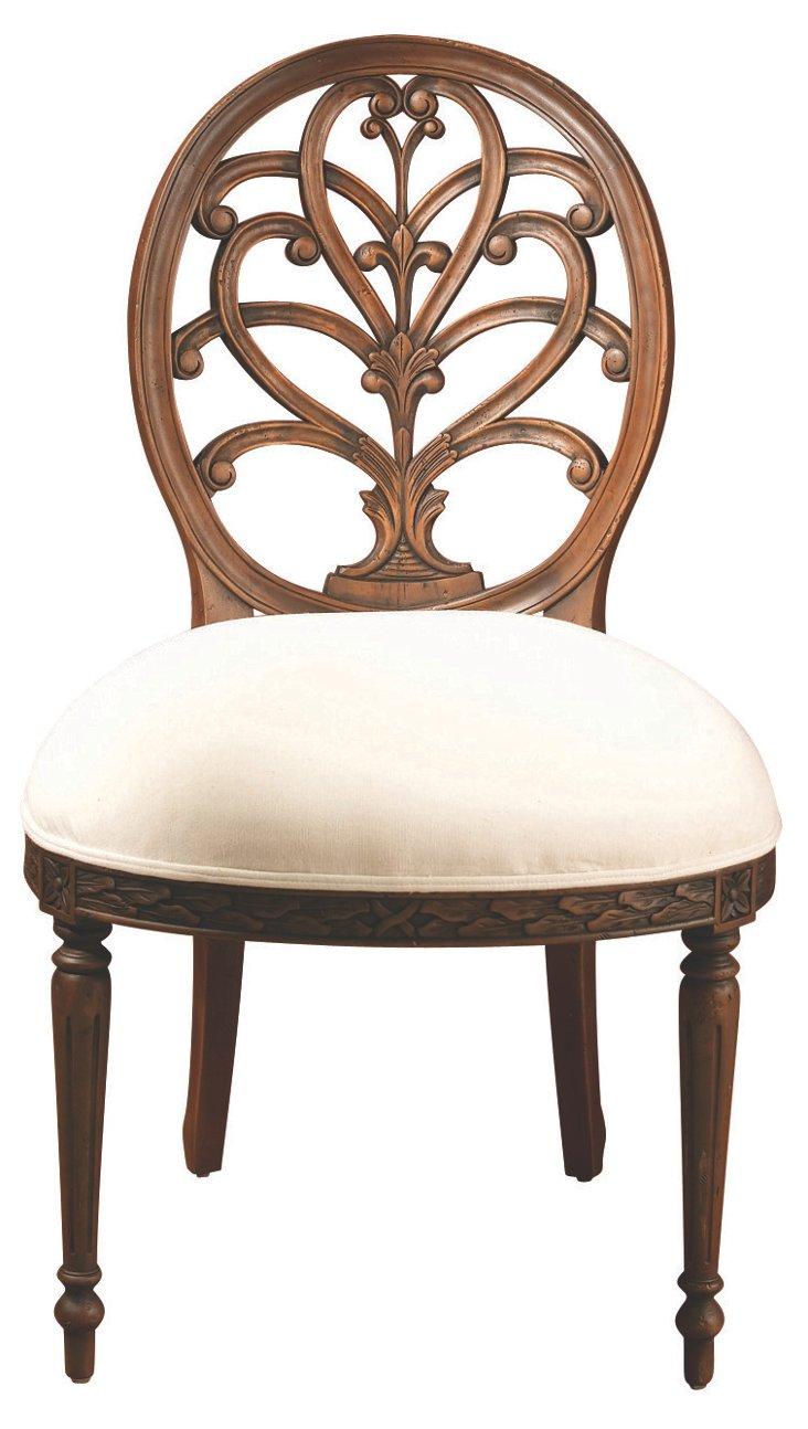 Spider-Back Side Chair, White/Walnut