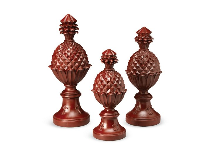 S/3 Red Pineapple Finials
