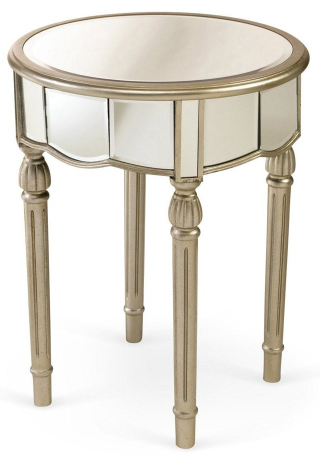 Emilia Mirrored Side Table, Silver