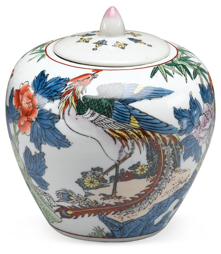 "7"" Phoenix Painted Jar"