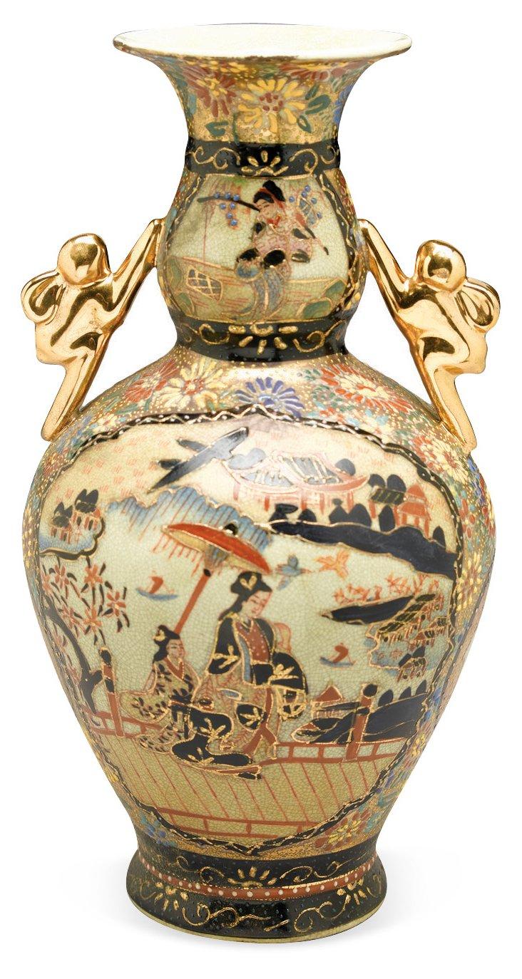 """12"""" Vase w/ Golden Handles"""