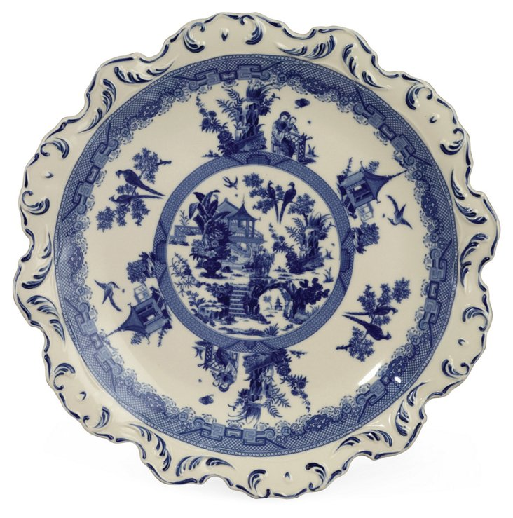 """15"""" Beaudre Tray, Blue/White"""