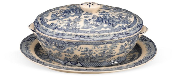 "12"" Toile Tureen w/ Platter, Blue/White"