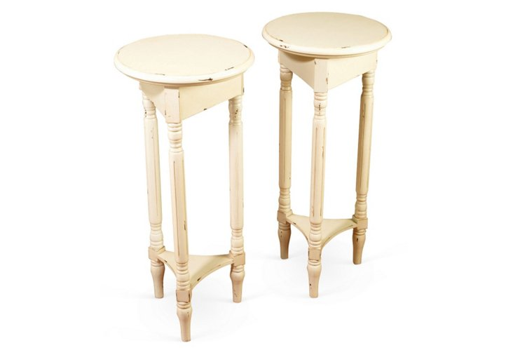 Distressed Cream Plant Stands, Pair