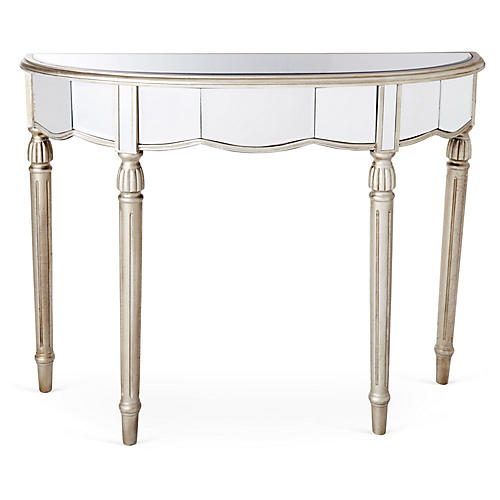 Fisk Mirrored Console Table, Silver
