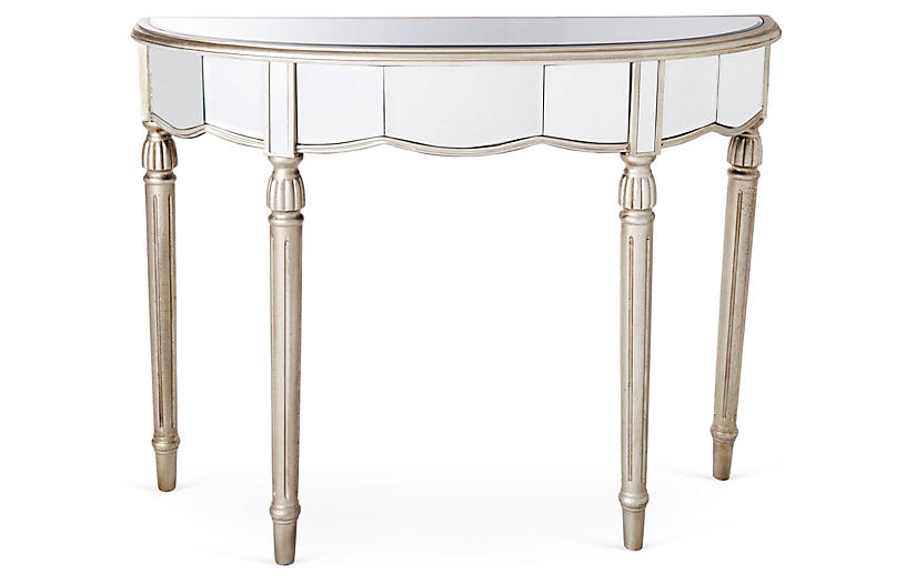 Fisk Mirrored Console Table - Silver