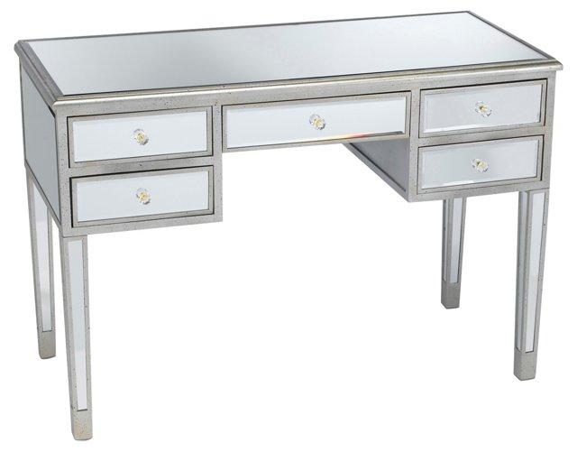 Picabo Mirrored Desk, Silver/Gold