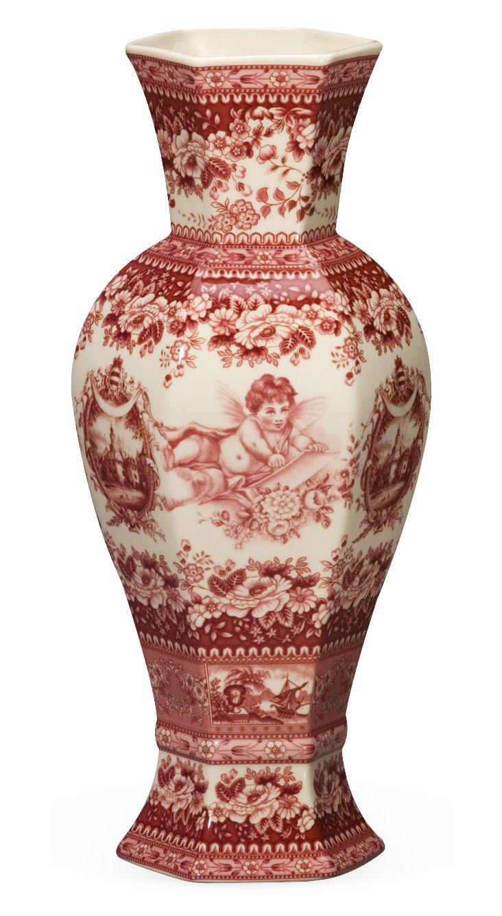 """14"""" Cherub Vase, Red"""