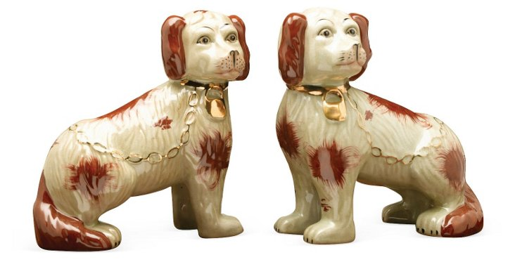 Pair of Perky Pups, Brown/Ivory