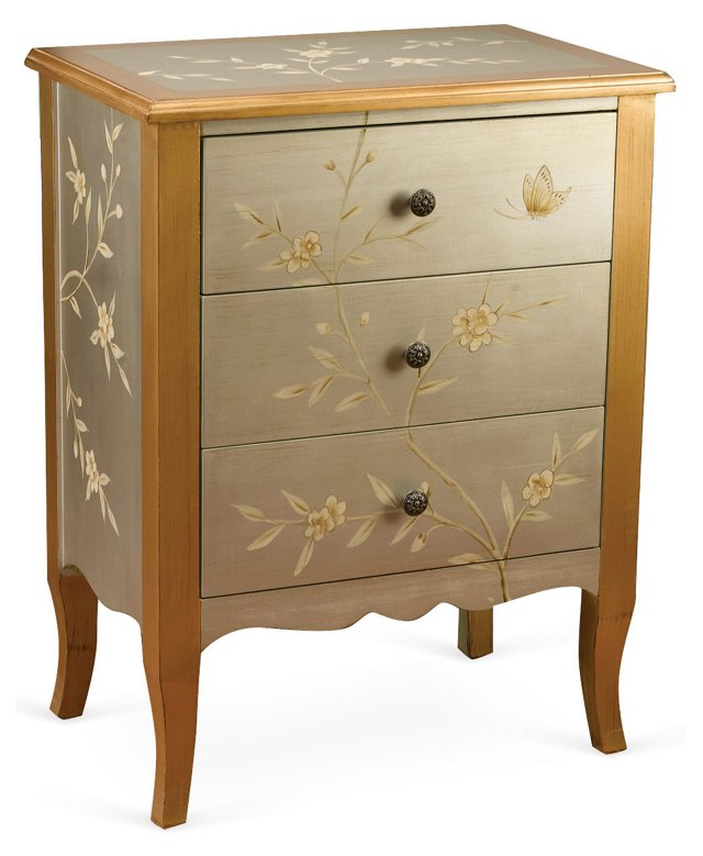 Abrial 3-Drawer Chest, Silver/Gold