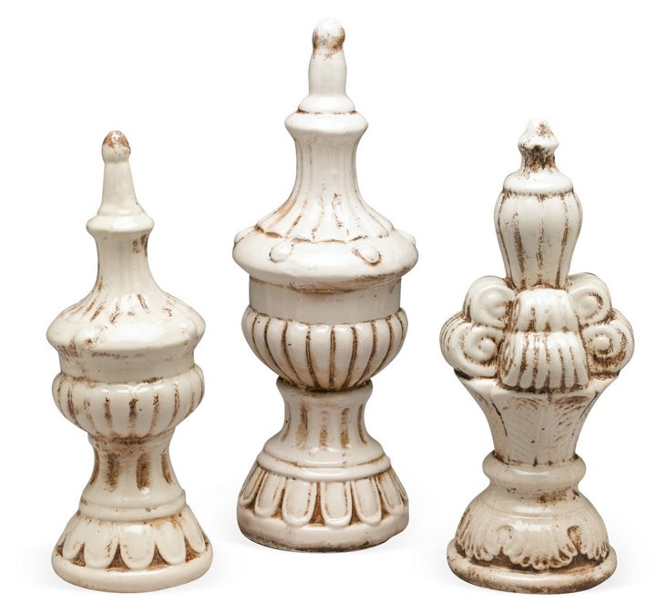 Classic White Finials, Asst. of 3