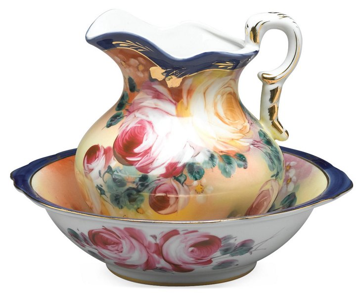 Hand-Painted Bowl & Pitcher Set