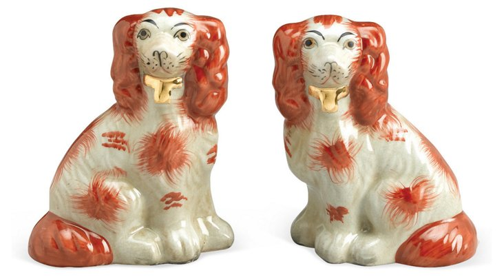 Pair of Ceramic Dogs, Brown/White