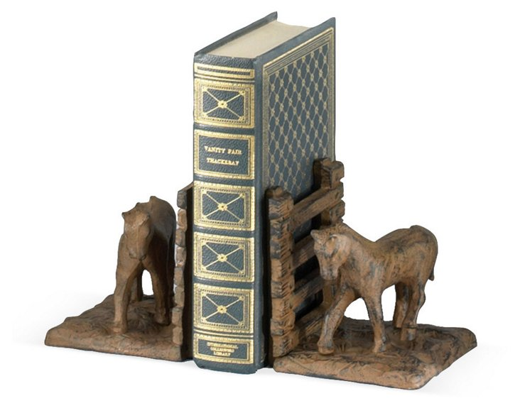 Pair of Horse At Fence Bookends