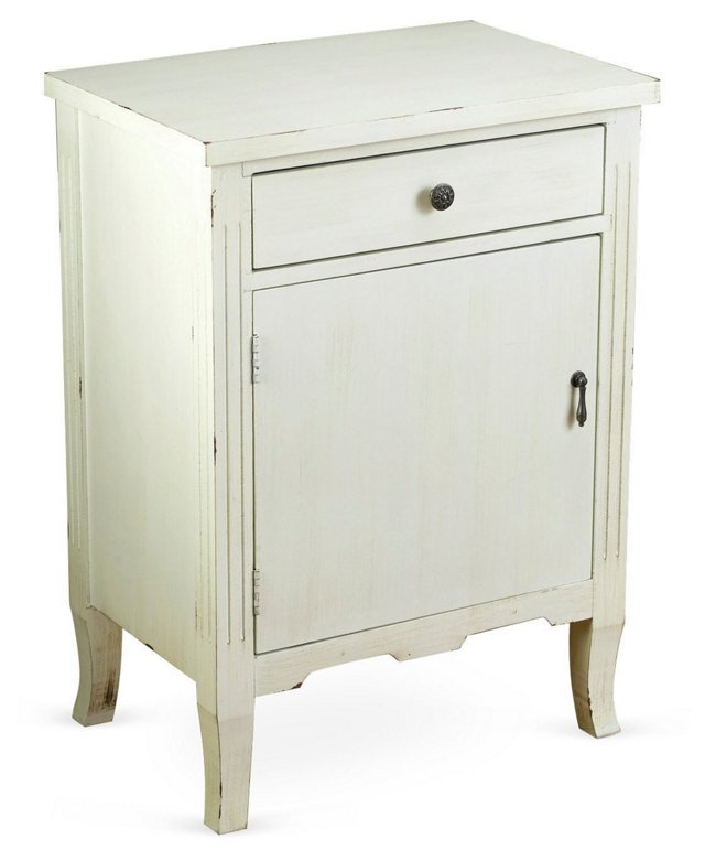 Nelly 1-Door Nightstand, Antiqued White