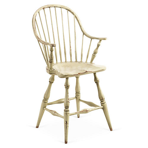 Windsor Counter Stool, Distressed White