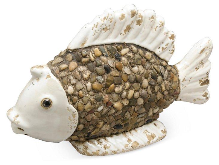 9x14 Pebble Fish Objet, White