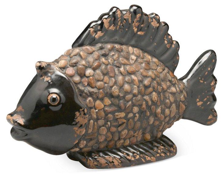 9x14 Pebble Fish Objet, Black