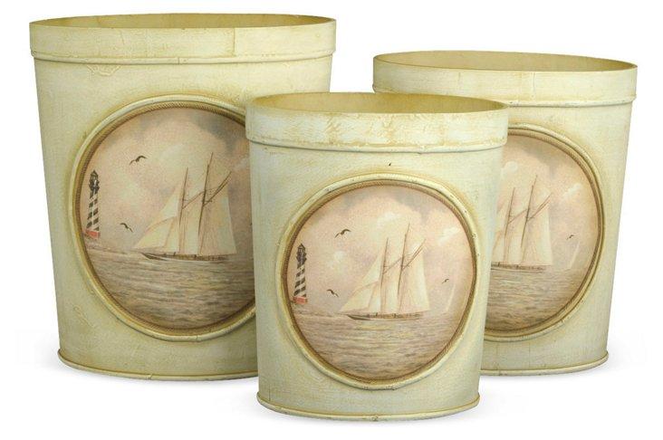 Sailboat Bins, Asst. of 3