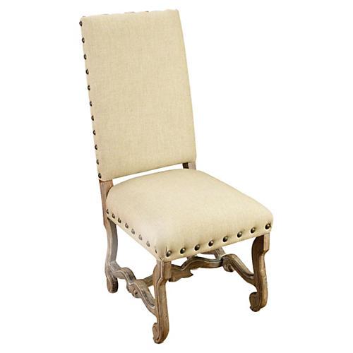 Hailey Linen Side Chair, Beige