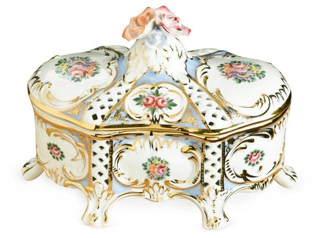 Oval Floral Porcelain Box