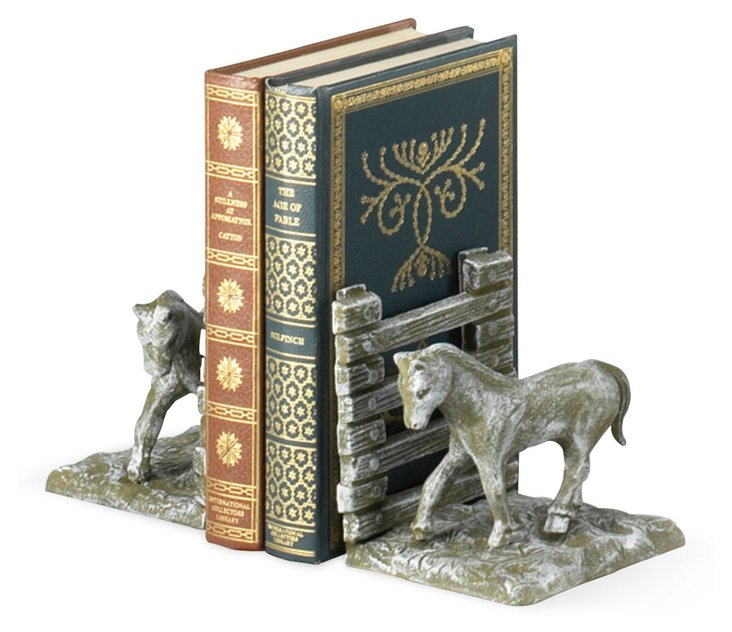 Pair of Cast Iron Horse Bookends