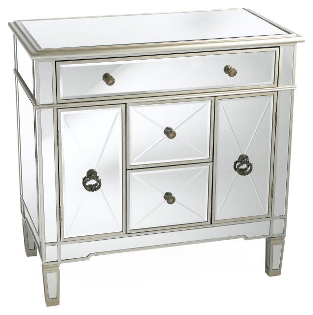 Large Hope Mirrored Cabinet, Silver