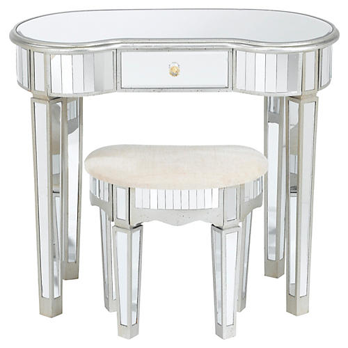 Asst. of 2 Lucia Mirrored Desk & Stool, Silver