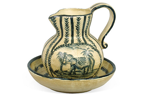 Elephant Bowl & Pitcher, Cream